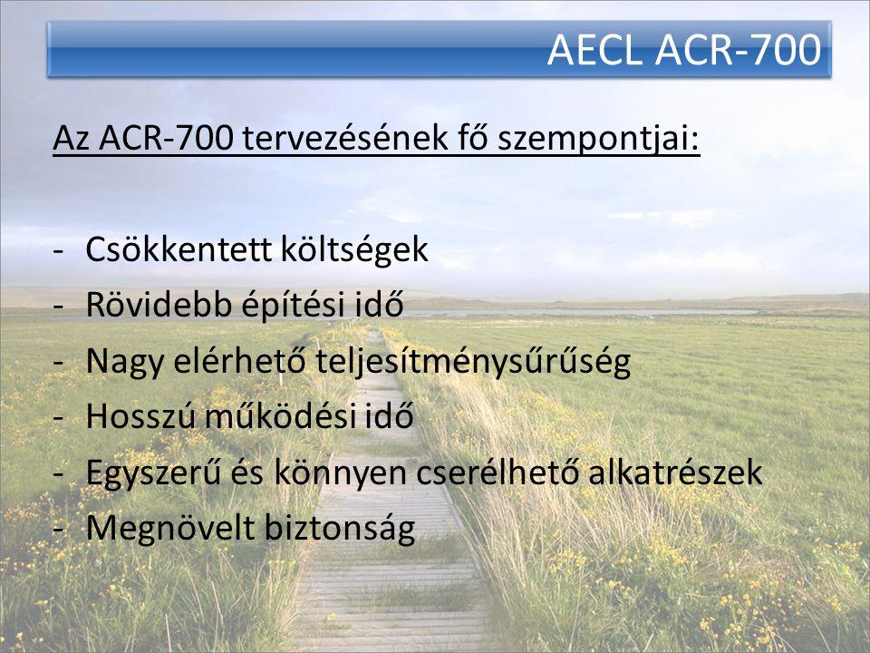 AECL ACR-700 Az ACR-700 tervezésének fő szempontjai: -Csökkentett költségek -Rövidebb építési idő -Nagy elérhető teljesítménysűrűség -Hosszú működési idő -Egyszerű és könnyen cserélhető alkatrészek -Megnövelt biztonság