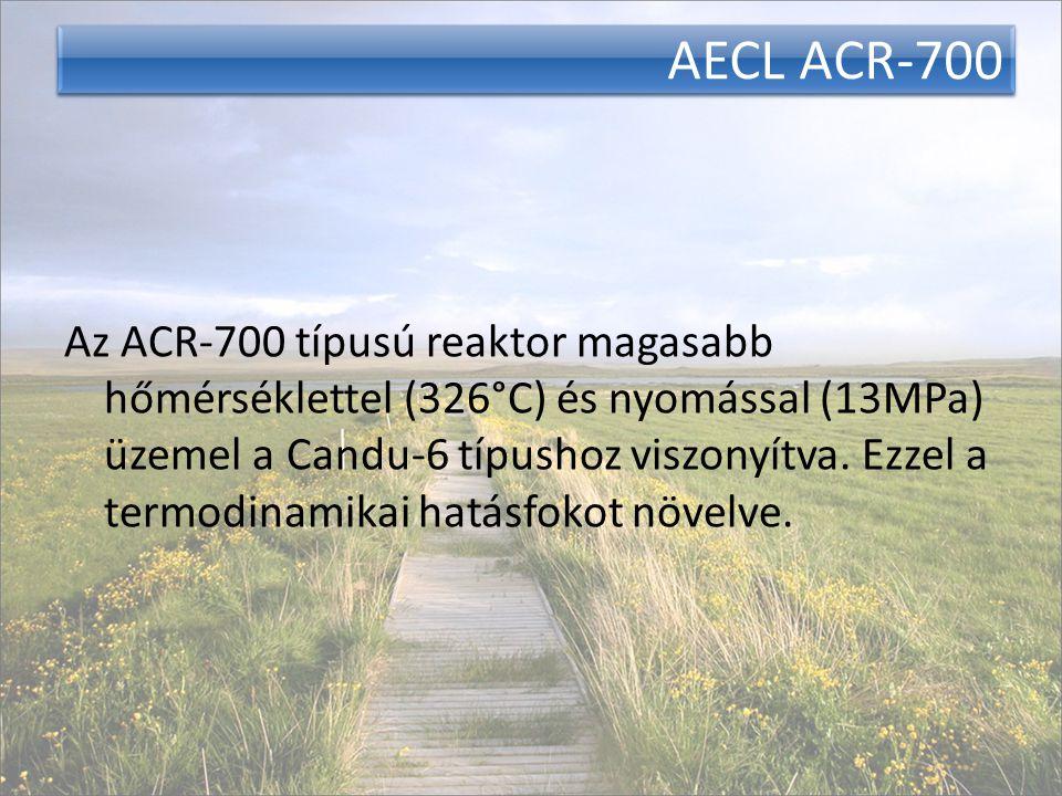 AECL ACR-700 Az ACR-700 típusú reaktor magasabb hőmérséklettel (326°C) és nyomással (13MPa) üzemel a Candu-6 típushoz viszonyítva. Ezzel a termodinami