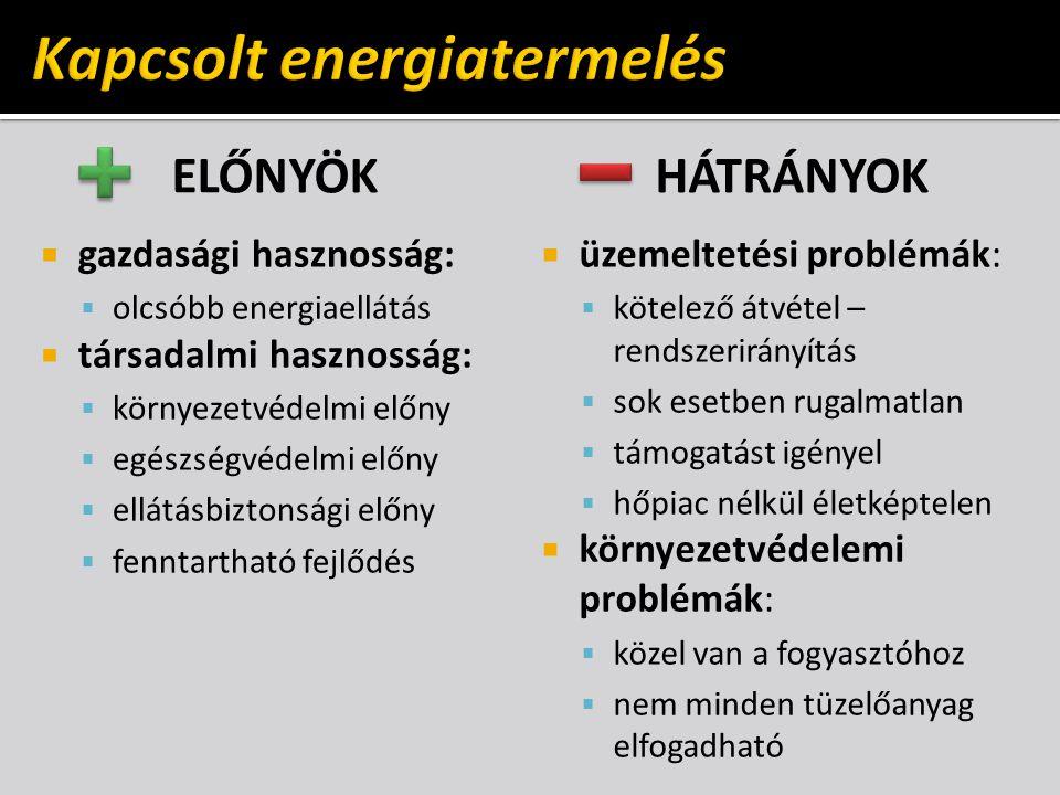 ELŐNYÖK  gazdasági hasznosság:  olcsóbb energiaellátás  társadalmi hasznosság:  környezetvédelmi előny  egészségvédelmi előny  ellátásbiztonsági