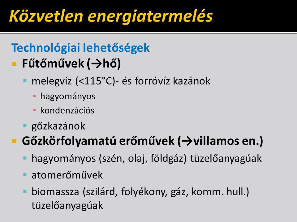 Technológiai lehetőségek  Fűtőművek (→hő)  melegvíz (<115°C)- és forróvíz kazánok ▪ hagyományos ▪ kondenzációs  gőzkazánok  Gőzkörfolyamatú erőművek (→villamos en.)  hagyományos (szén, olaj, földgáz) tüzelőanyagúak  atomerőművek  biomassza (szilárd, folyékony, gáz, komm.