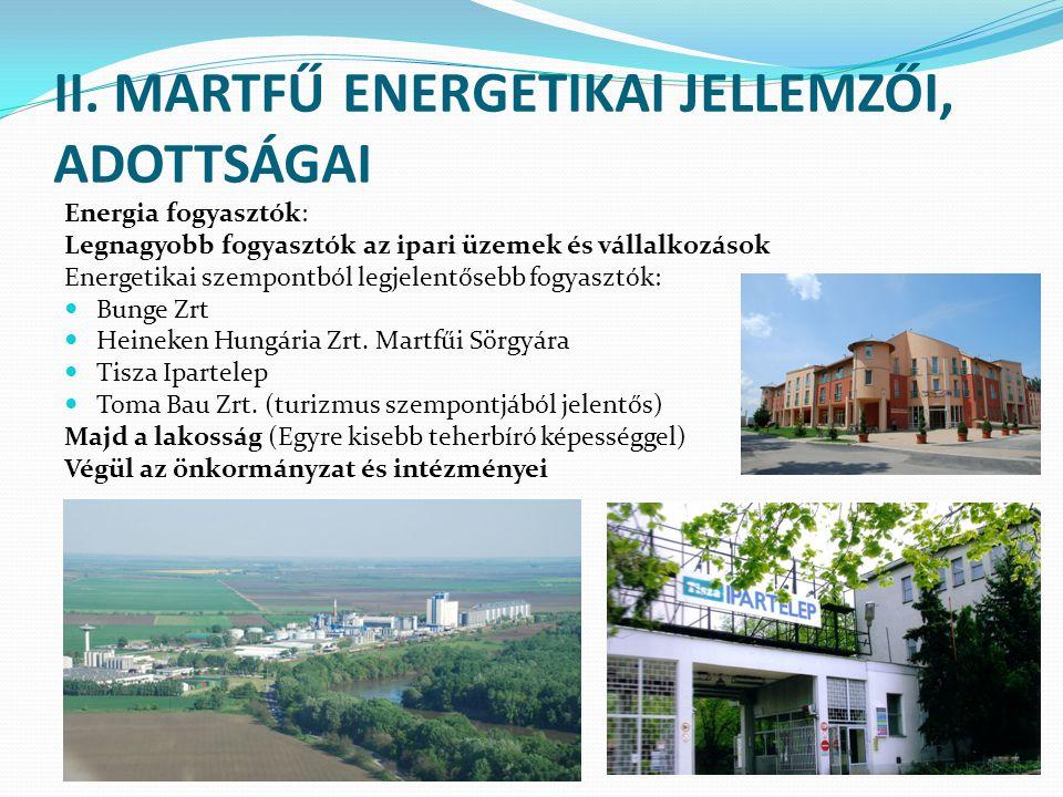 II. MARTFŰ ENERGETIKAI JELLEMZŐI, ADOTTSÁGAI Energia fogyasztók: Legnagyobb fogyasztók az ipari üzemek és vállalkozások Energetikai szempontból legjel