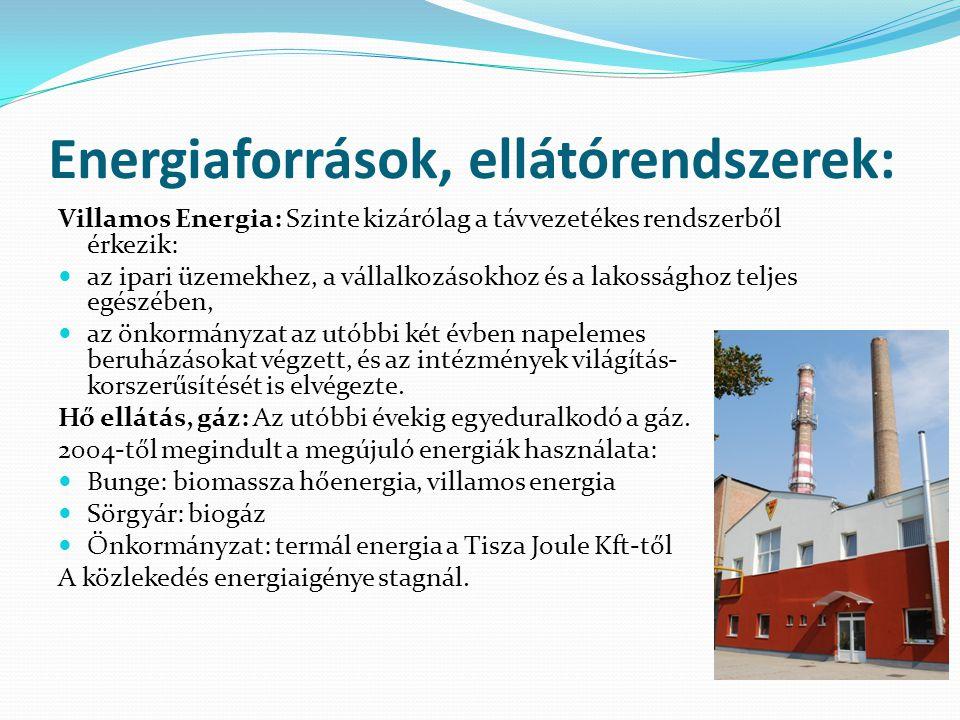 Energiaforrások, ellátórendszerek: Villamos Energia: Szinte kizárólag a távvezetékes rendszerből érkezik:  az ipari üzemekhez, a vállalkozásokhoz és