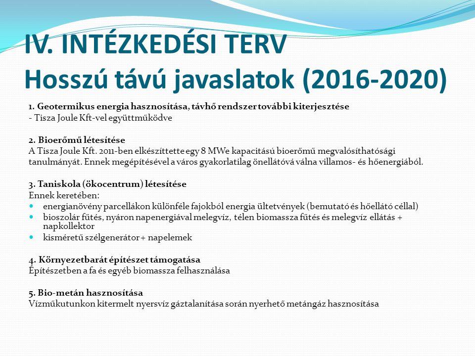 IV. INTÉZKEDÉSI TERV Hosszú távú javaslatok (2016-2020) 1. Geotermikus energia hasznosítása, távhő rendszer további kiterjesztése - Tisza Joule Kft-ve