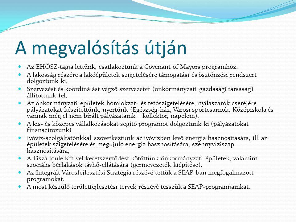A megvalósítás útján  Az EHÖSZ-tagja lettünk, csatlakoztunk a Covenant of Mayors programhoz,  A lakosság részére a lakóépületek szigetelésére támoga