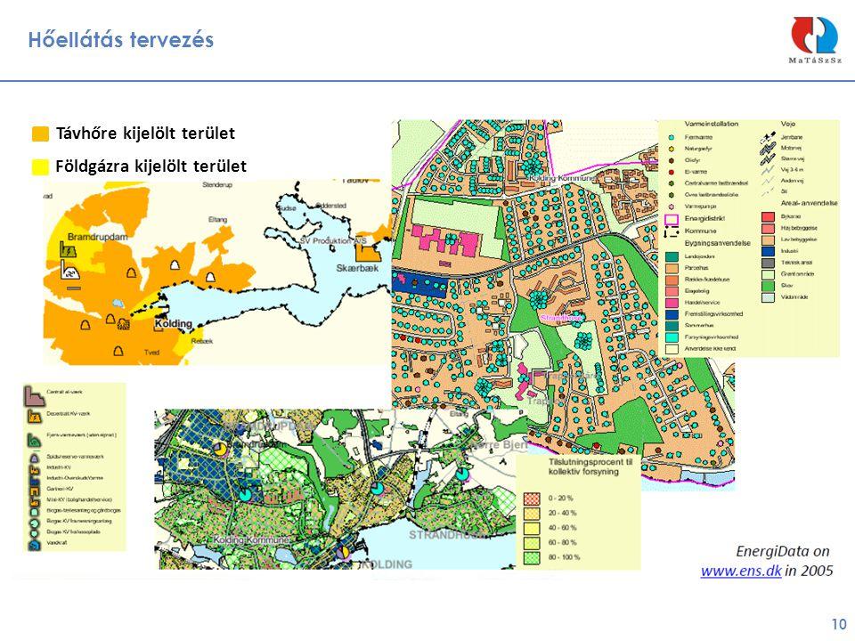 Hőellátás tervezés 10 Földgázra kijelölt terület Távhőre kijelölt terület