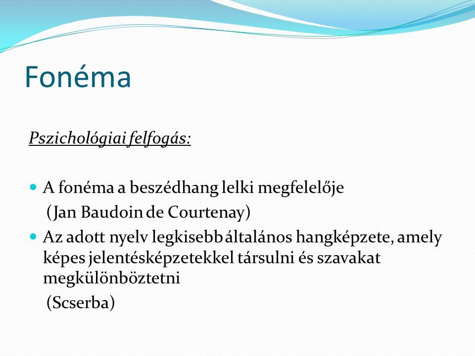 Fonéma Pszichológiai felfogás:  A fonéma a beszédhang lelki megfelelője (Jan Baudoin de Courtenay)  Az adott nyelv legkisebb általános hangképzete, amely képes jelentésképzetekkel társulni és szavakat megkülönböztetni (Scserba)