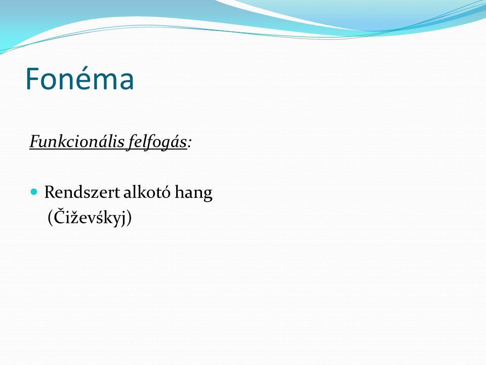 Fonéma Funkcionális felfogás:  Rendszert alkotó hang (Čiževśkyj)
