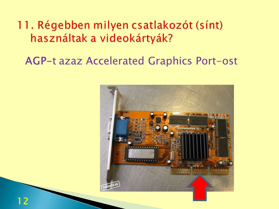 12 AGP-t azaz Accelerated Graphics Port-ost