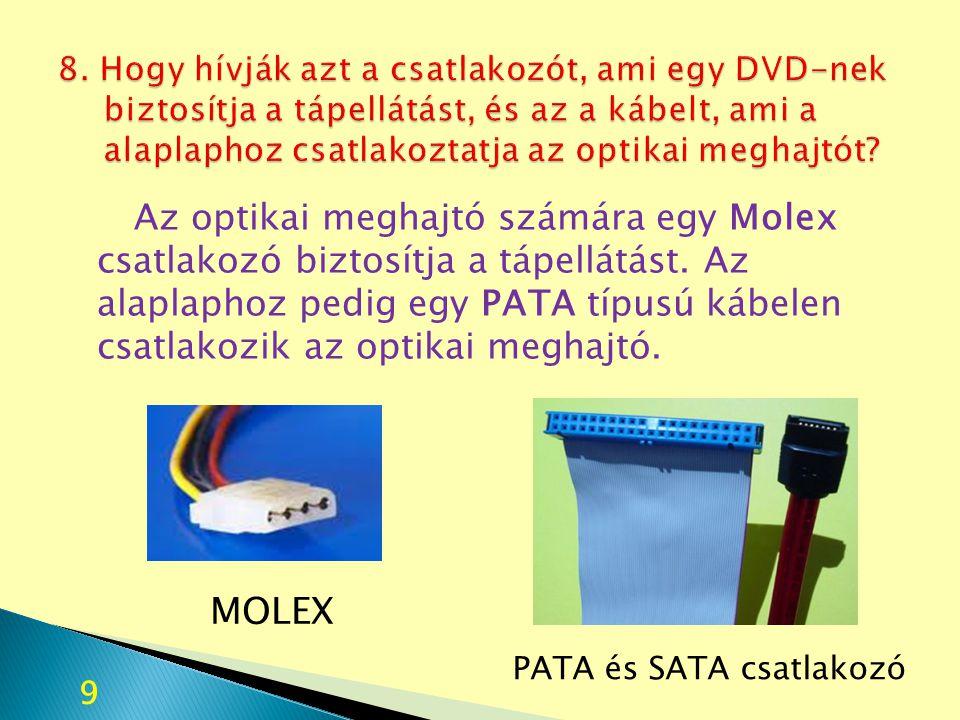 Az optikai meghajtó számára egy Molex csatlakozó biztosítja a tápellátást. Az alaplaphoz pedig egy PATA típusú kábelen csatlakozik az optikai meghajtó