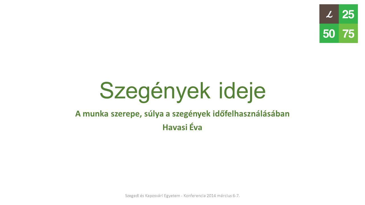 Szegények ideje A munka szerepe, súlya a szegények időfelhasználásában Havasi Éva Szegedi és Kaposvári Egyetem - Konferencia 2014 március 6-7.