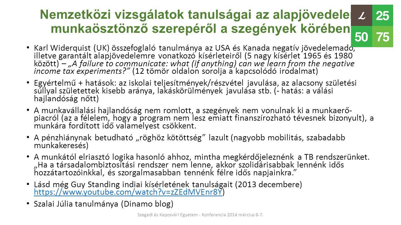 Nemzetközi vizsgálatok tanulságai az alapjövedelem munkaösztönző szerepéről a szegények körében • Karl Widerquist (UK) összefoglaló tanulmánya az USA