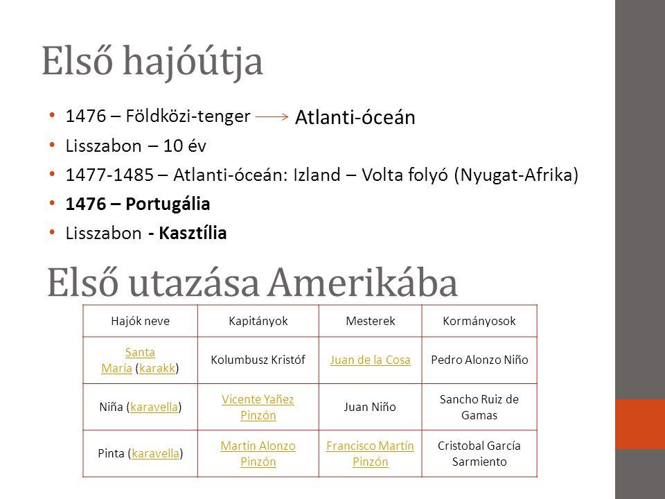 Első hajóútja • 1476 – Földközi-tenger • Lisszabon – 10 év • 1477-1485 – Atlanti-óceán: Izland – Volta folyó (Nyugat-Afrika) • 1476 – Portugália • Lis