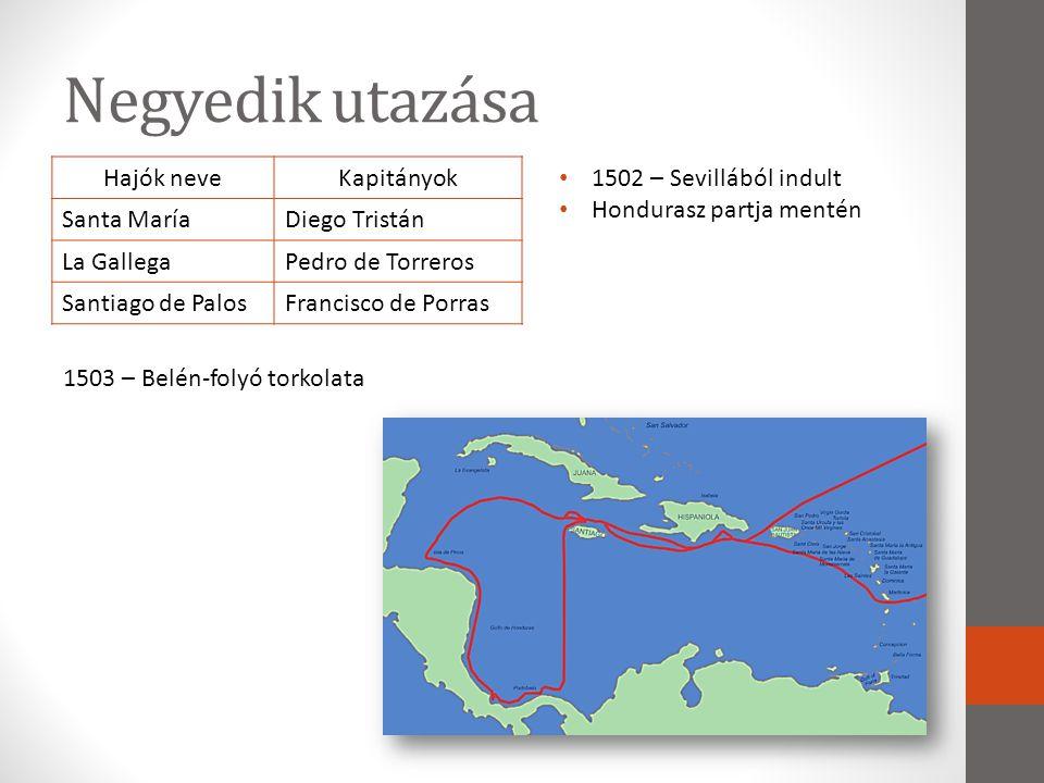 Negyedik utazása Hajók neveKapitányok Santa MaríaDiego Tristán La GallegaPedro de Torreros Santiago de PalosFrancisco de Porras • 1502 – Sevillából in