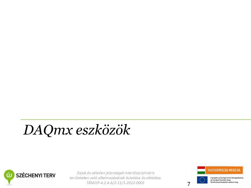Zajok és véletlen jelenségek interdiszciplináris területeken való alkalmazásának kutatása és oktatása. TÁMOP-4.2.4.A/2-11/1-2012-0001 DAQmx eszközök 7