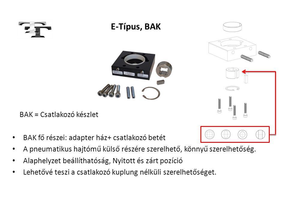 E-Típus, BAK BAK = Csatlakozó készlet • BAK fő részei: adapter ház+ csatlakozó betét • A pneumatikus hajtómű külső részére szerelhető, könnyű szerelhe