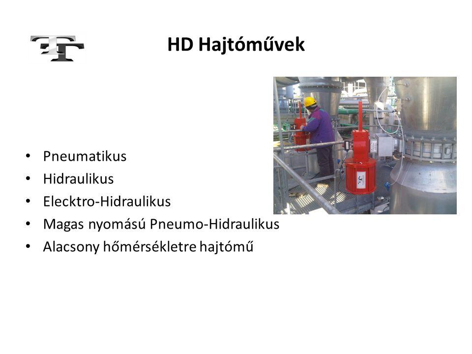 HD Hajtóművek • Pneumatikus • Hidraulikus • Elecktro-Hidraulikus • Magas nyomású Pneumo-Hidraulikus • Alacsony hőmérsékletre hajtómű
