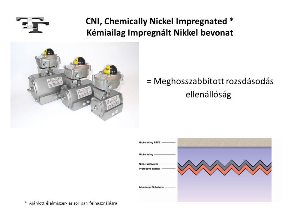 CNI, Chemically Nickel Impregnated * Kémiailag Impregnált Nikkel bevonat = Meghosszabbított rozsdásodás ellenállóság * Ajánlott élelmiszer- és söripar