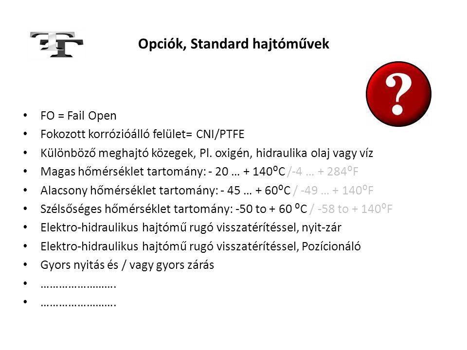 Opciók, Standard hajtóművek • FO = Fail Open • Fokozott korrózióálló felület= CNI/PTFE • Különböző meghajtó közegek, Pl. oxigén, hidraulika olaj vagy
