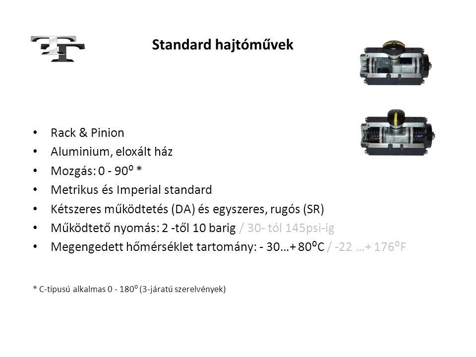 Standard hajtóművek • Rack & Pinion • Aluminium, eloxált ház • Mozgás: 0 - 90⁰ * • Metrikus és Imperial standard • Kétszeres működtetés (DA) és egysze