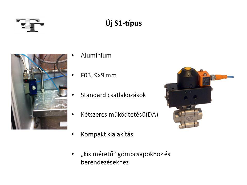 """Új S1-típus • Alumínium • F03, 9x9 mm • Standard csatlakozások • Kétszeres működtetésű(DA) • Kompakt kialakítás • """"kis méretű"""" gömbcsapokhoz és berend"""