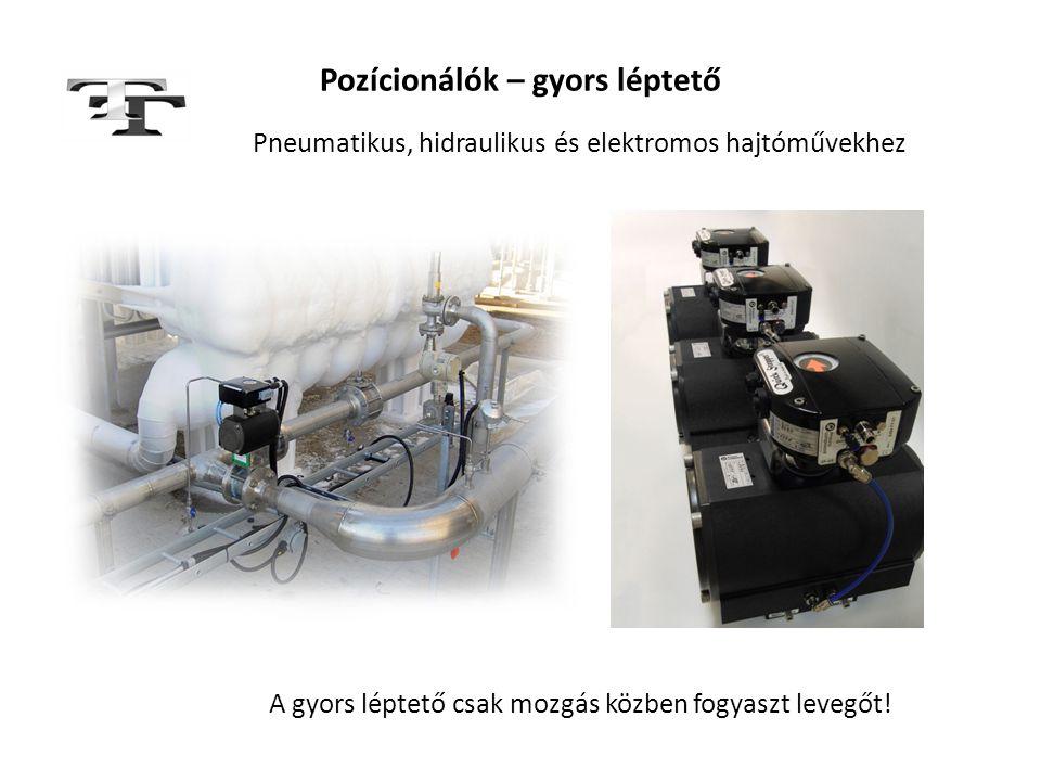Pozícionálók – gyors léptető Pneumatikus, hidraulikus és elektromos hajtóművekhez A gyors léptető csak mozgás közben fogyaszt levegőt!