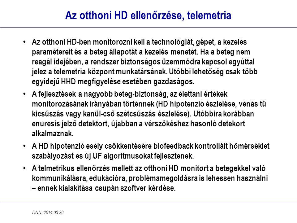 Az otthoni HD ellenőrzése, telemetria • Az otthoni HD-ben monitorozni kell a technológiát, gépet, a kezelés paramétereit és a beteg állapotát a kezelé