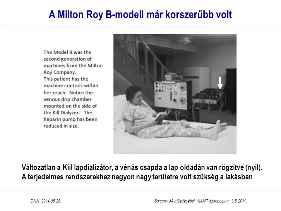A Milton Roy B-modell már korszerűbb volt Változatlan a Kiil lapdializátor, a vénás csapda a lap oldadán van rögzítve (nyíl). A terjedelmes rendszerek