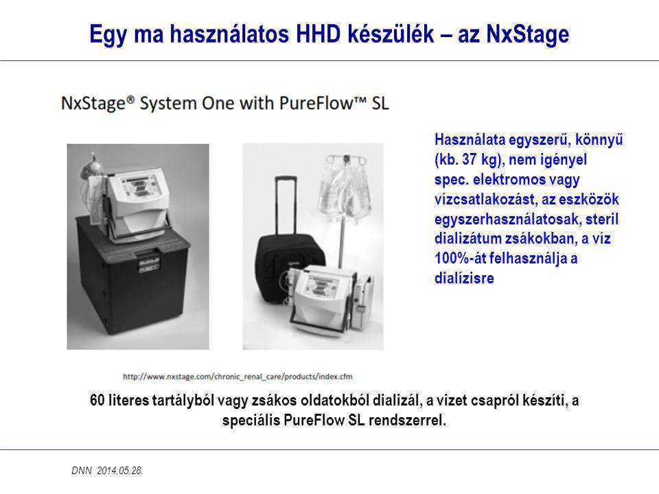 Egy ma használatos HHD készülék – az NxStage 60 literes tartályból vagy zsákos oldatokból dializál, a vizet csapról készíti, a speciális PureFlow SL r
