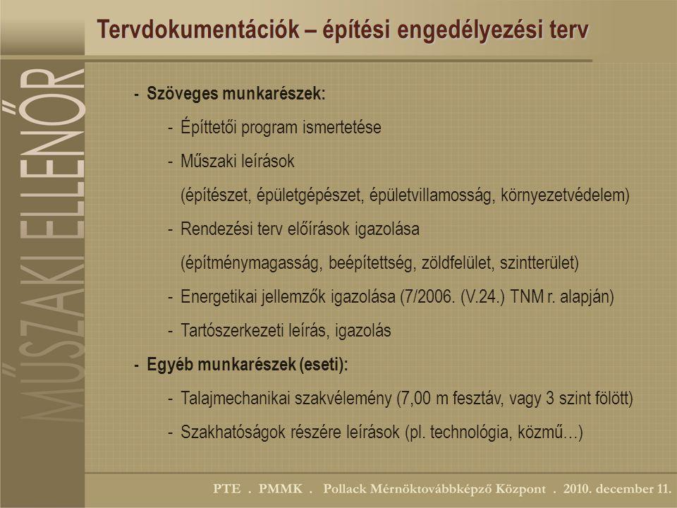 Tervdokumentációk – építési engedélyezési terv -Szöveges munkarészek: -Építtetői program ismertetése -Műszaki leírások (építészet, épületgépészet, épületvillamosság, környezetvédelem) -Rendezési terv előírások igazolása (építménymagasság, beépítettség, zöldfelület, szintterület) -Energetikai jellemzők igazolása (7/2006.