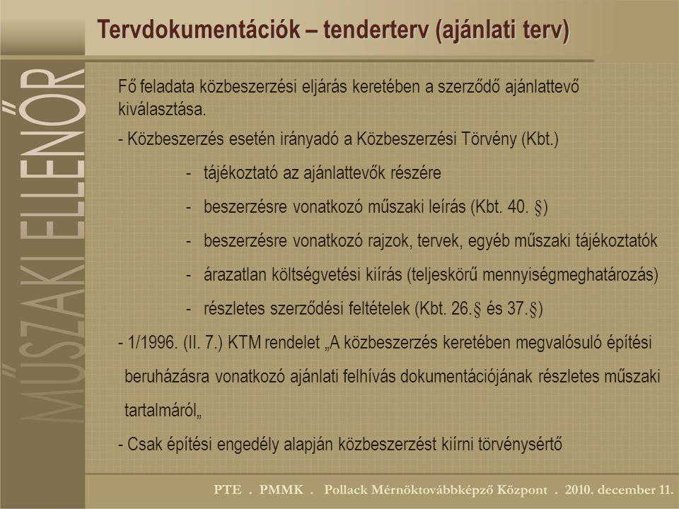 Tervdokumentációk – tenderterv (ajánlati terv) Fő feladata közbeszerzési eljárás keretében a szerződő ajánlattevő kiválasztása.