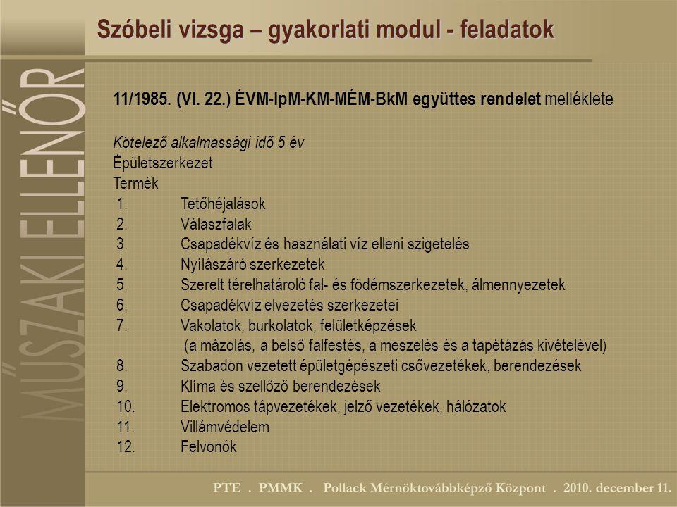 Szóbeli vizsga – gyakorlati modul - feladatok 11/1985.