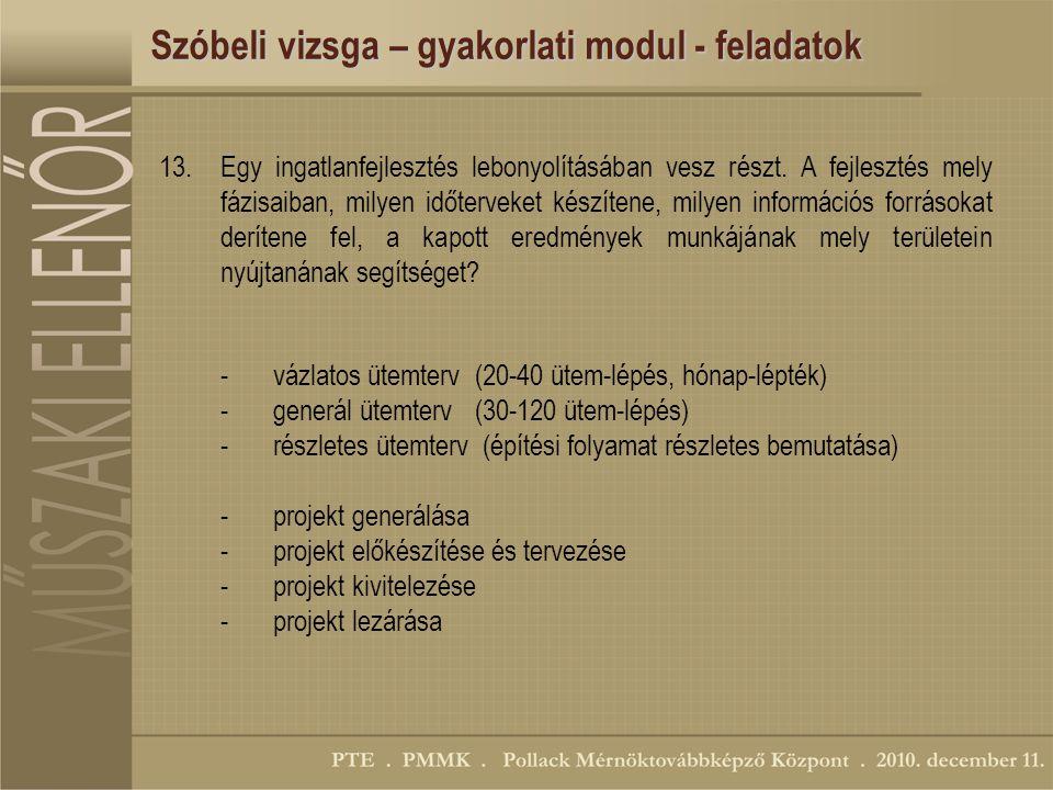 Szóbeli vizsga – gyakorlati modul - feladatok 13.Egy ingatlanfejlesztés lebonyolításában vesz részt.