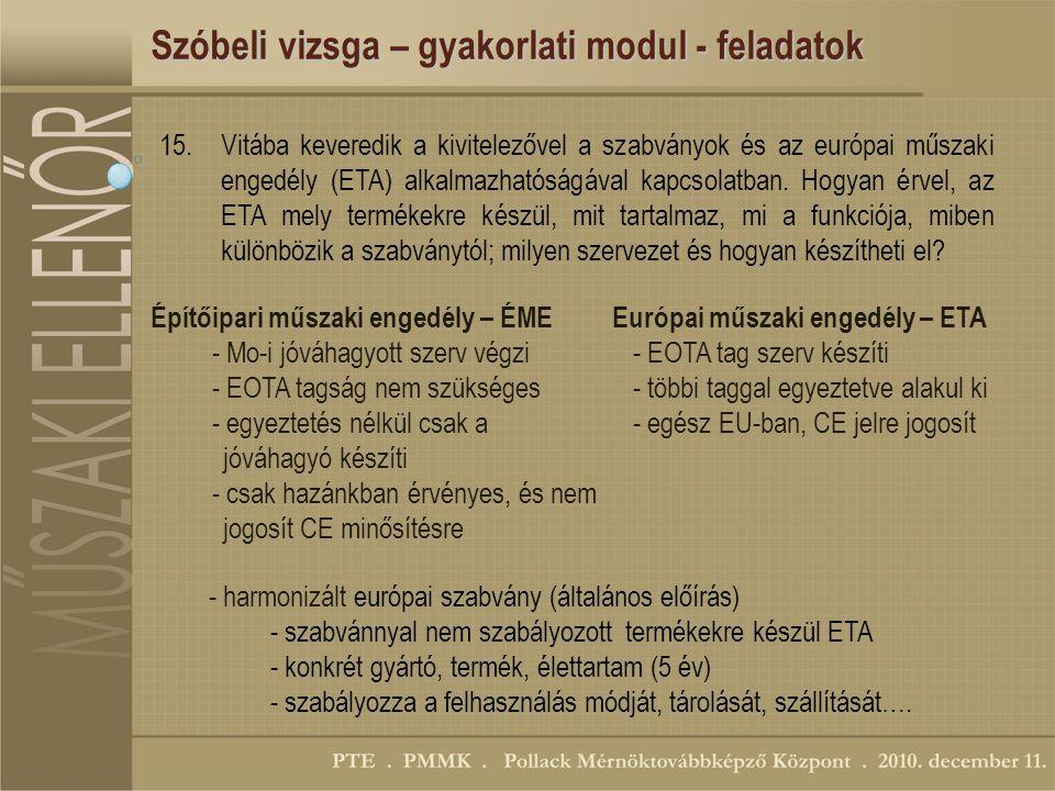 Szóbeli vizsga – gyakorlati modul - feladatok 15.Vitába keveredik a kivitelezővel a szabványok és az európai műszaki engedély (ETA) alkalmazhatóságával kapcsolatban.