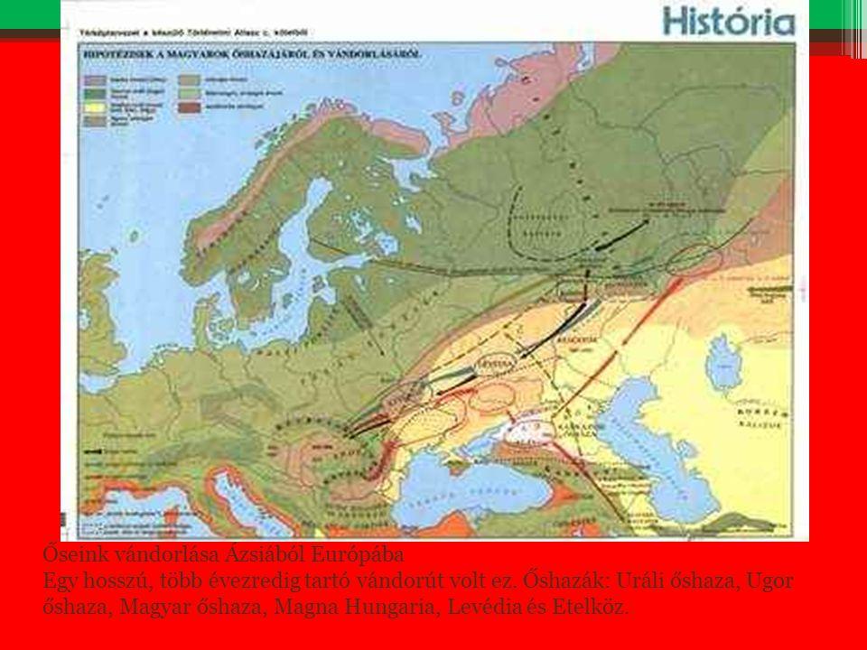 Őseink vándorlása Ázsiából Európába Egy hosszú, több évezredig tartó vándorút volt ez. Őshazák: Uráli őshaza, Ugor őshaza, Magyar őshaza, Magna Hungar