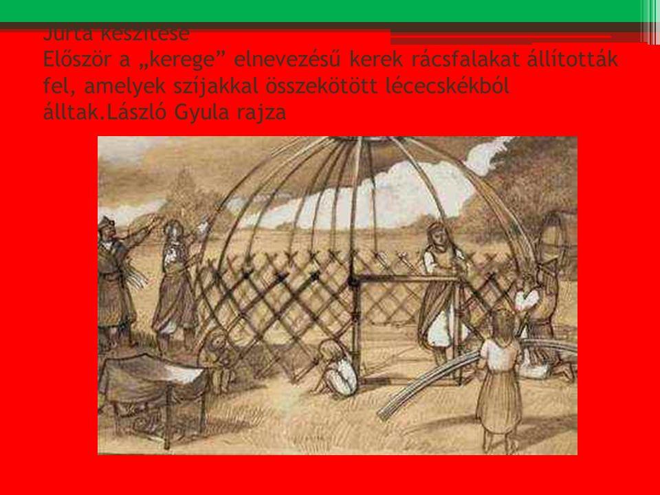 """Jurta készítése Először a """"kerege"""" elnevezésű kerek rácsfalakat állították fel, amelyek szíjakkal összekötött lécecskékból álltak.László Gyula rajza"""