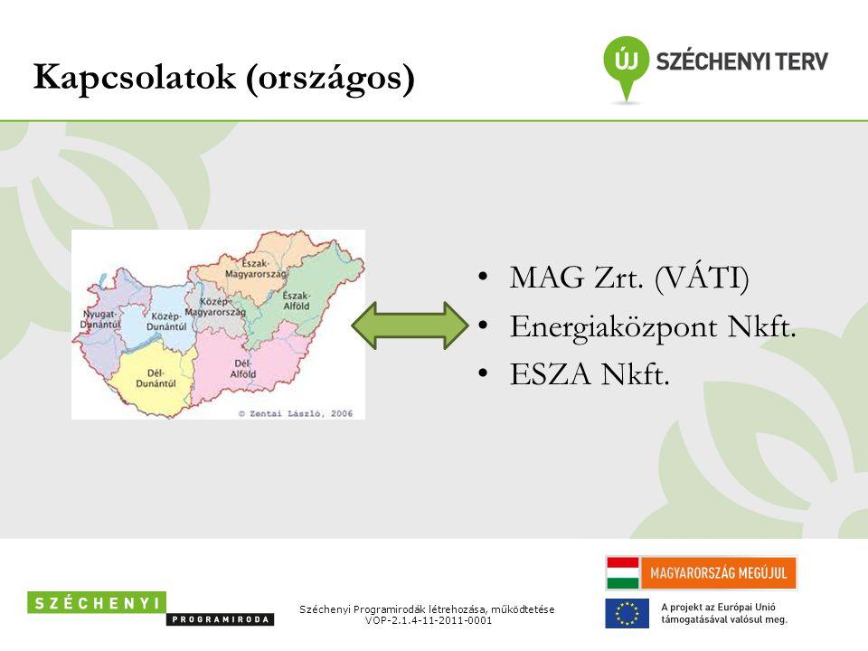Kapcsolatok (országos) • MAG Zrt. (VÁTI) • Energiaközpont Nkft. • ESZA Nkft. Széchenyi Programirodák létrehozása, működtetése VOP-2.1.4-11-2011-0001