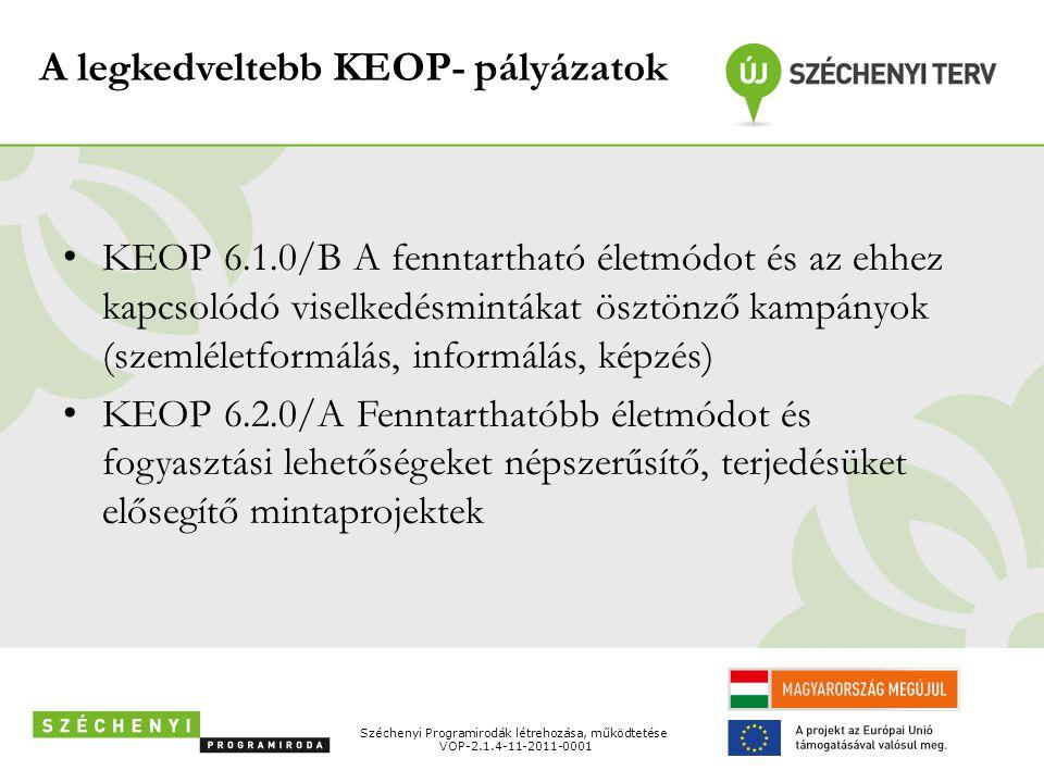 A legkedveltebb KEOP- pályázatok • KEOP 6.1.0/B A fenntartható életmódot és az ehhez kapcsolódó viselkedésmintákat ösztönző kampányok (szemléletformál