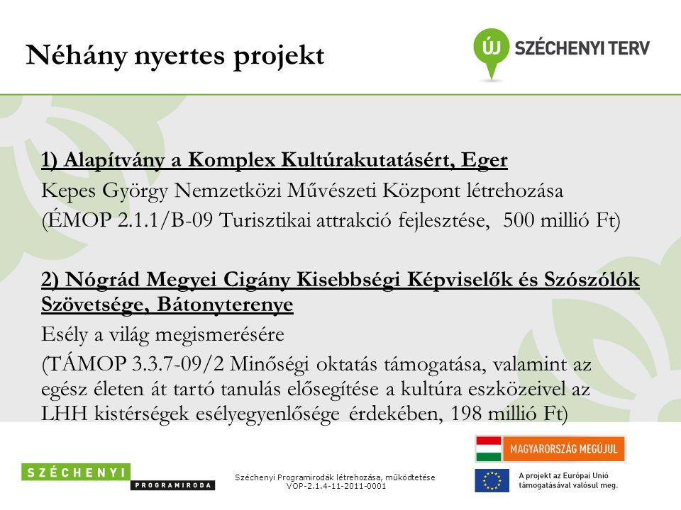 Néhány nyertes projekt 1) Alapítvány a Komplex Kultúrakutatásért, Eger Kepes György Nemzetközi Művészeti Központ létrehozása (ÉMOP 2.1.1/B-09 Turiszti
