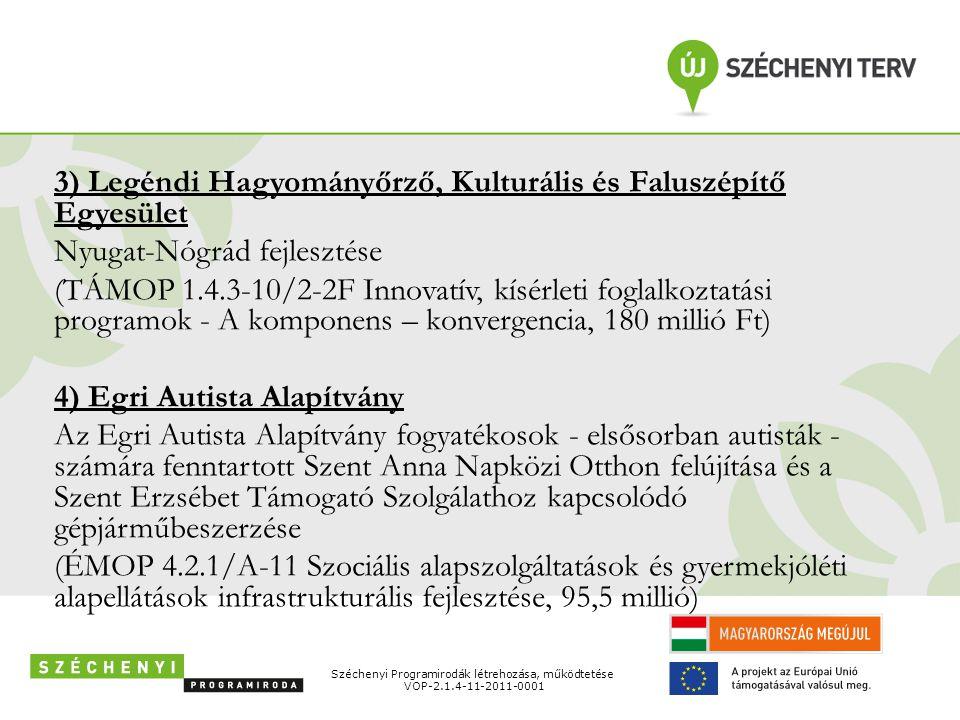 3) Legéndi Hagyományőrző, Kulturális és Faluszépítő Egyesület Nyugat-Nógrád fejlesztése (TÁMOP 1.4.3-10/2-2F Innovatív, kísérleti foglalkoztatási prog