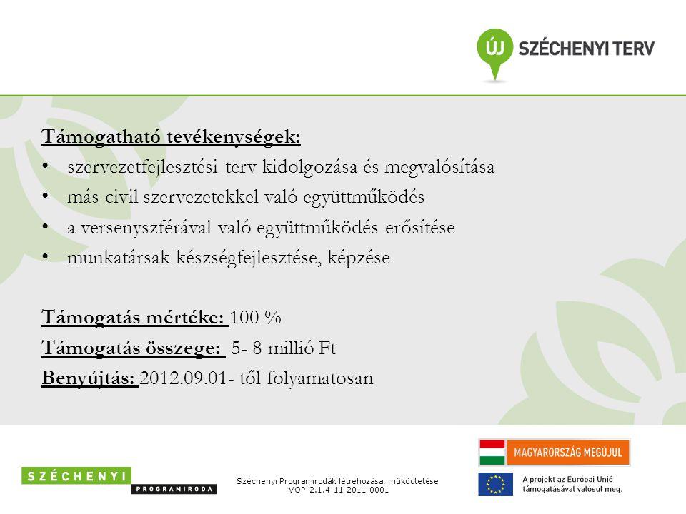 Támogatható tevékenységek: • szervezetfejlesztési terv kidolgozása és megvalósítása • más civil szervezetekkel való együttműködés • a versenyszférával