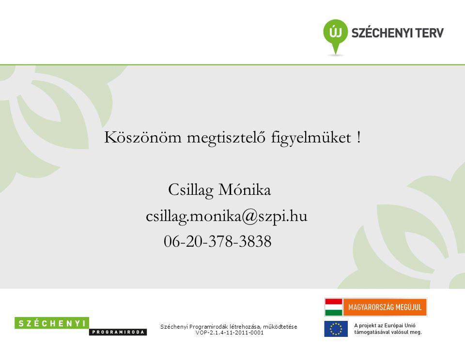 Köszönöm megtisztelő figyelmüket ! Csillag Mónika csillag.monika@szpi.hu 06-20-378-3838 Széchenyi Programirodák létrehozása, működtetése VOP-2.1.4-11-