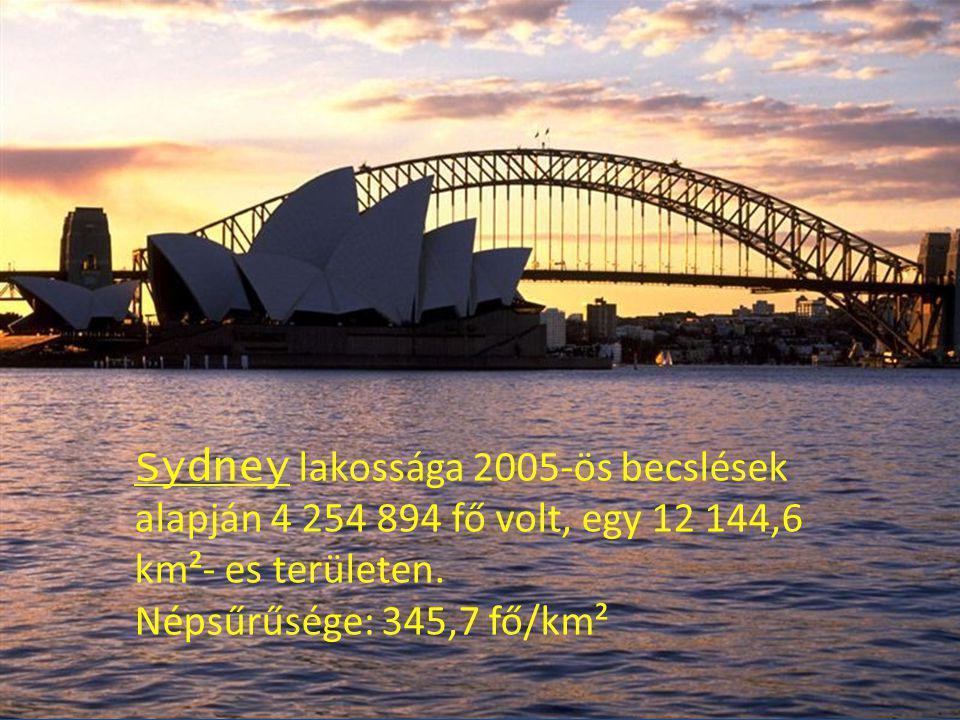 Sydney lakossága 2005-ös becslések alapján 4 254 894 fő volt, egy 12 144,6 km²- es területen. Népsűrűsége: 345,7 fő/km²
