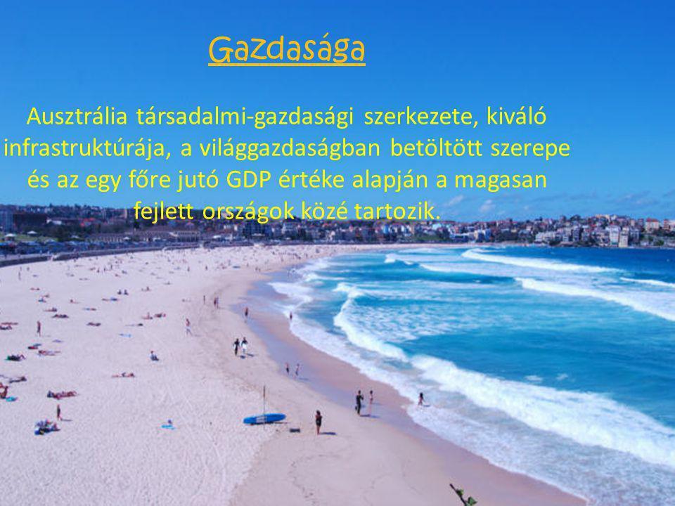 Gazdasága Ausztrália társadalmi-gazdasági szerkezete, kiváló infrastruktúrája, a világgazdaságban betöltött szerepe és az egy főre jutó GDP értéke ala