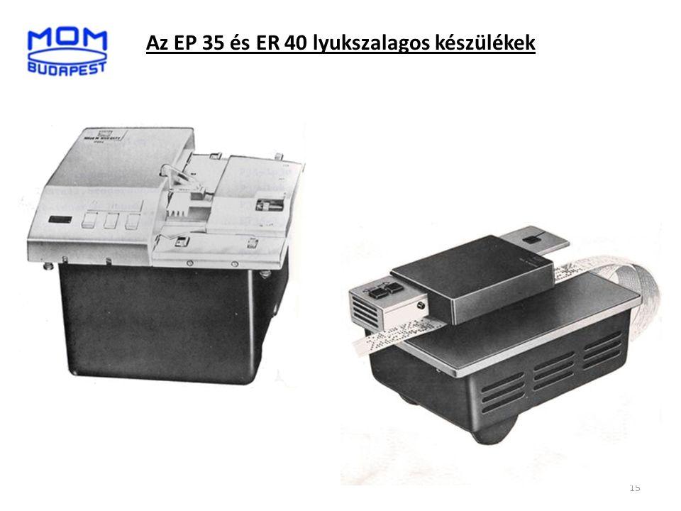 15 Az EP 35 és ER 40 lyukszalagos készülékek