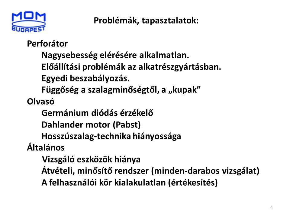 Problémák, tapasztalatok: Perforátor Nagysebesség elérésére alkalmatlan. Előállítási problémák az alkatrészgyártásban. Egyedi beszabályozás. Függőség