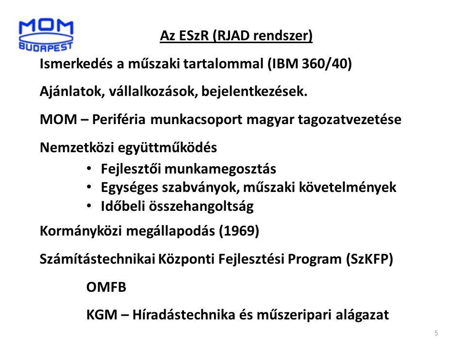 Az ESzR (RJAD rendszer) Ismerkedés a műszaki tartalommal (IBM 360/40) Ajánlatok, vállalkozások, bejelentkezések. MOM – Periféria munkacsoport magyar t