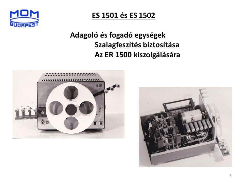 ES 1501 és ES 1502 Adagoló és fogadó egységek Szalagfeszítés biztosítása Az ER 1500 kiszolgálására 9