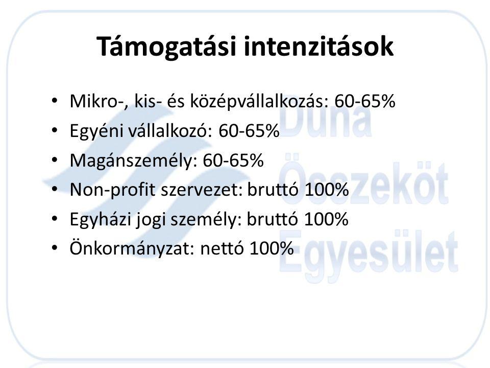 Támogatási intenzitások • Mikro-, kis- és középvállalkozás: 60-65% • Egyéni vállalkozó: 60-65% • Magánszemély: 60-65% • Non-profit szervezet: bruttó 1