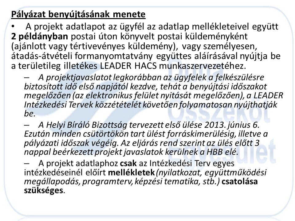 Pályázat benyújtásának menete • A projekt adatlapot az ügyfél az adatlap mellékleteivel együtt 2 példányban postai úton könyvelt postai küldeményként