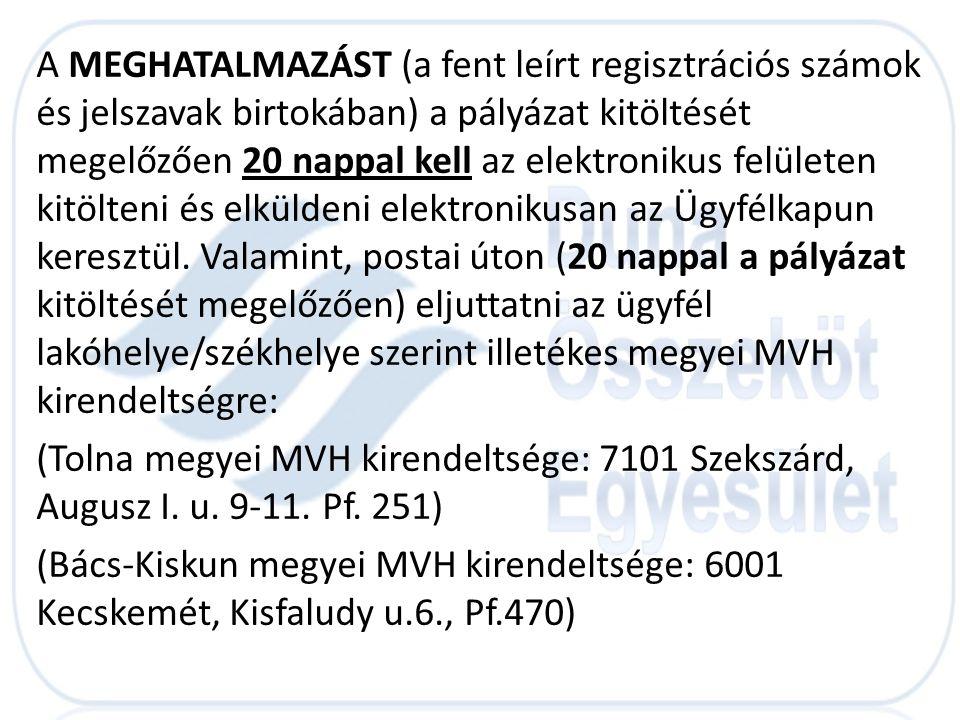 A MEGHATALMAZÁST (a fent leírt regisztrációs számok és jelszavak birtokában) a pályázat kitöltését megelőzően 20 nappal kell az elektronikus felületen